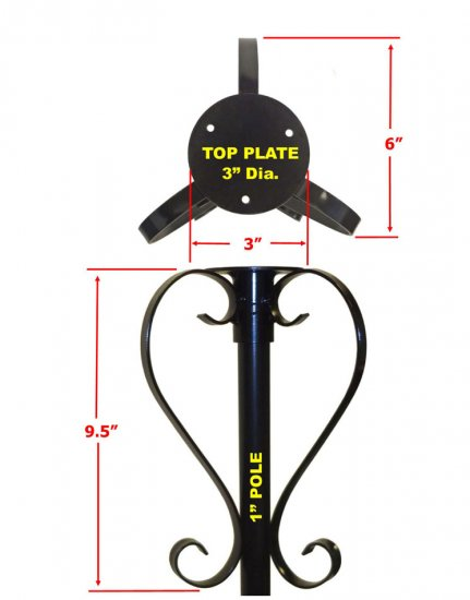 OSF1 - Round Top Bird Feeder Mounting Plate With Scrolls - USA - Click Image to Close